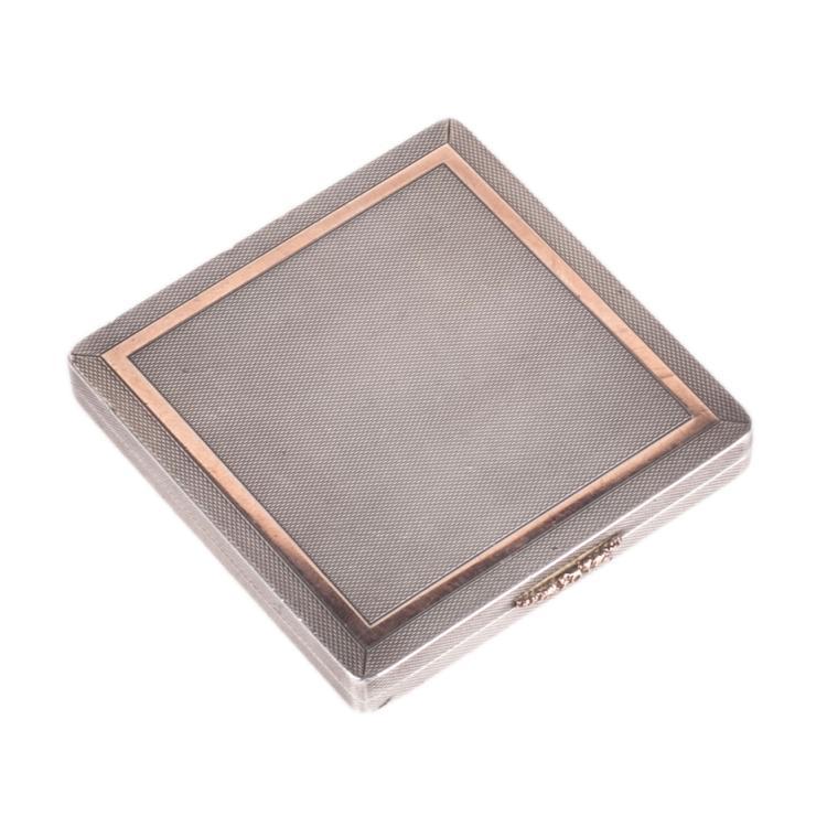 Vintage silver powder case with gold encrust