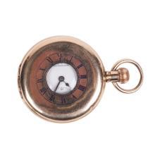 Gilded demi-hunter cased pocket watch