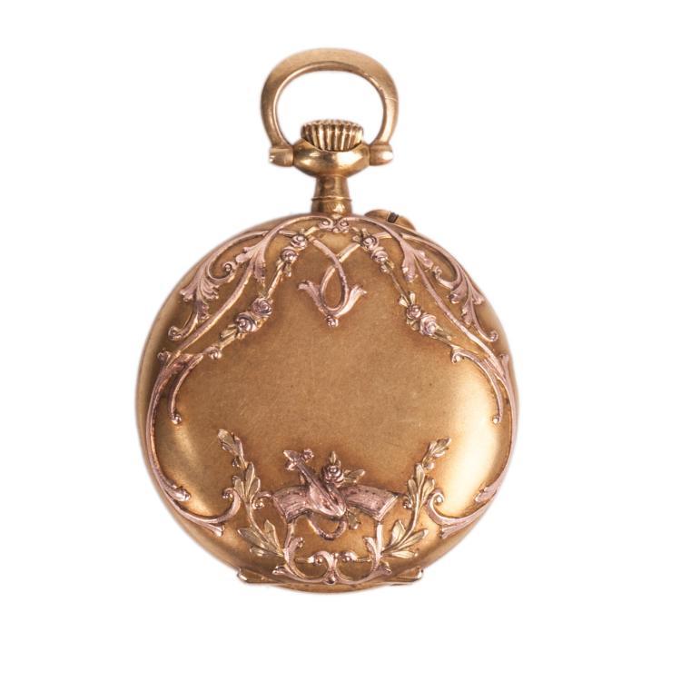Open face gold pocket watch