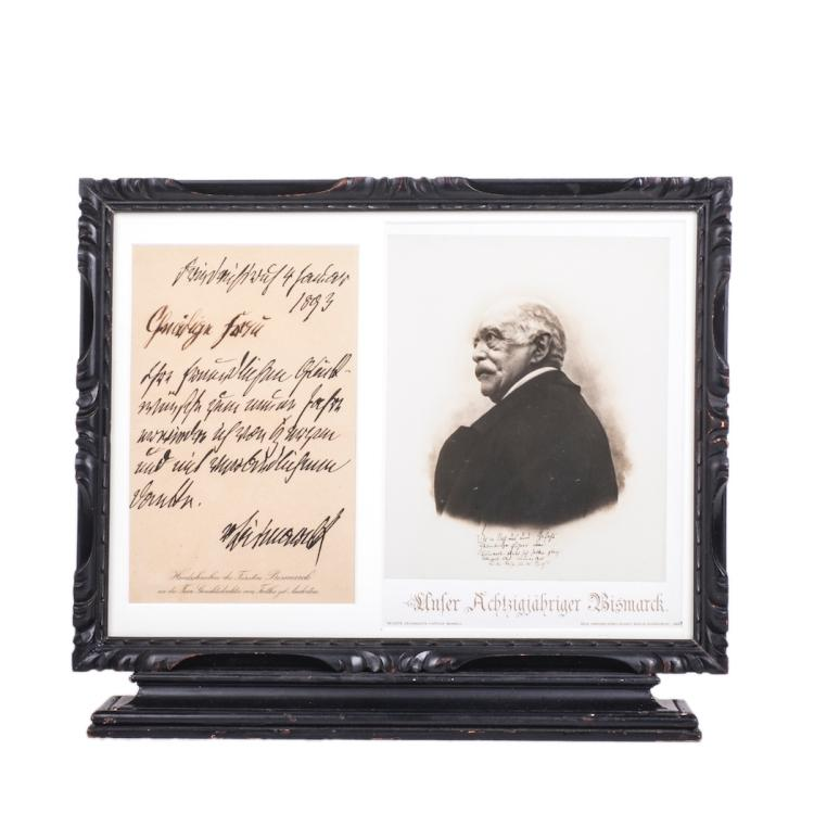 Frame with autograph letter of Bismarck and his lithography