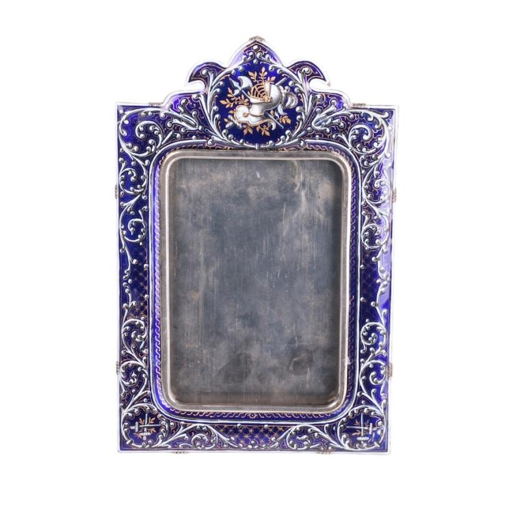 Antique photo frame with beautiful blue hot enamel