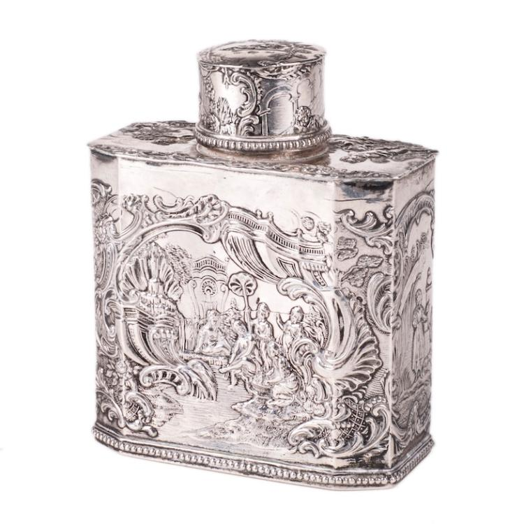 Antique silver tea box with engravings