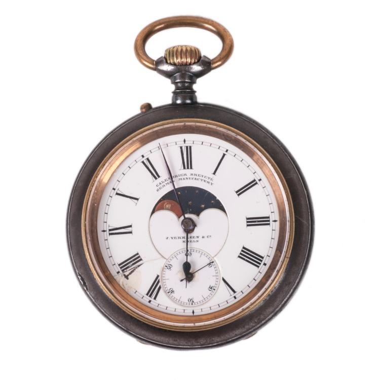 German gun metal pocket watch with moon phase calendar
