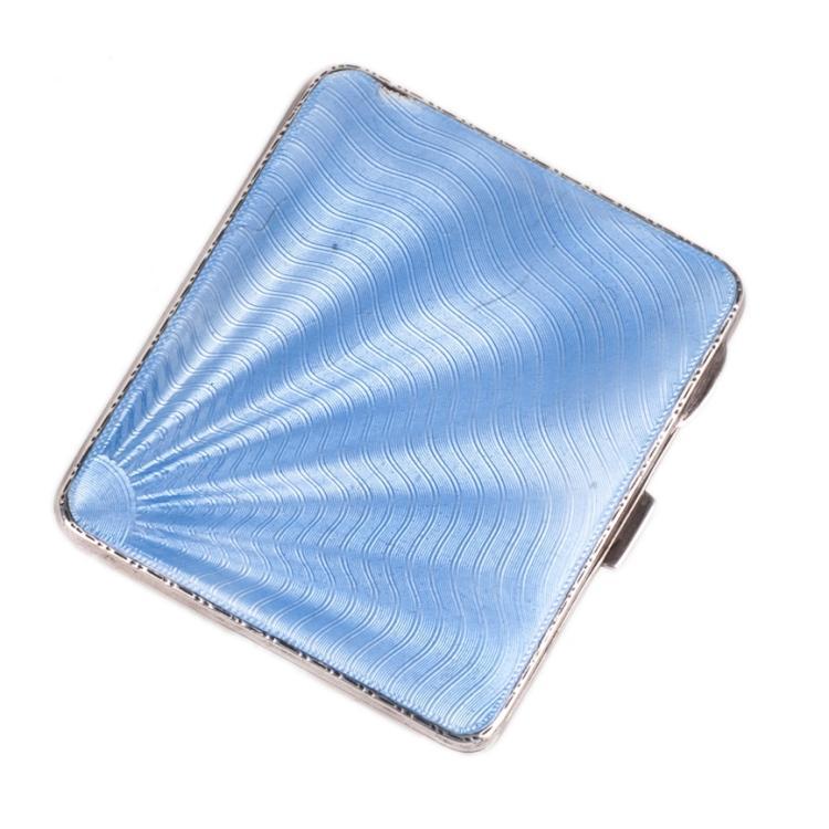 Silver blue guilloche enamel cigarette case