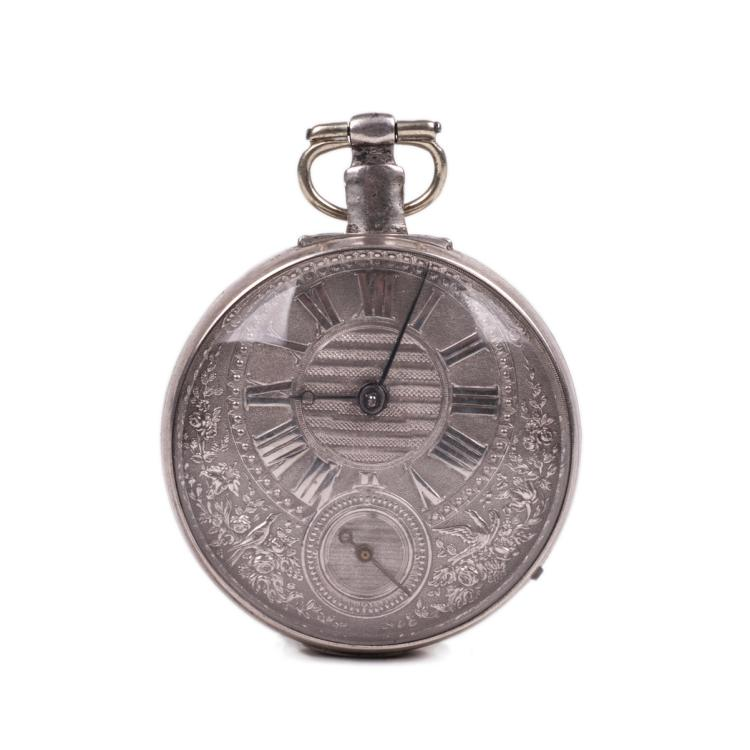 English pocket watch with silver dial