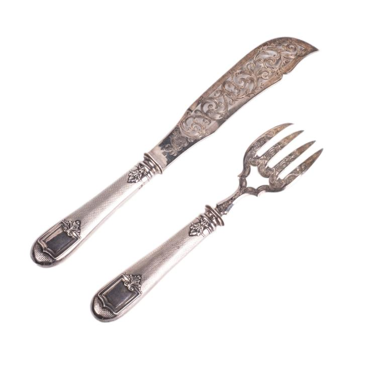 French silver set of 2 pieces for meat