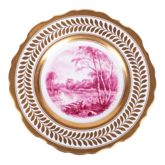 Antique porcelain plate with view of the lake