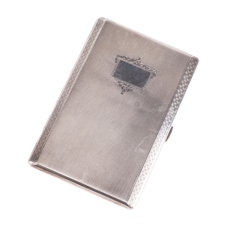 Big silver cigarette case with engravings