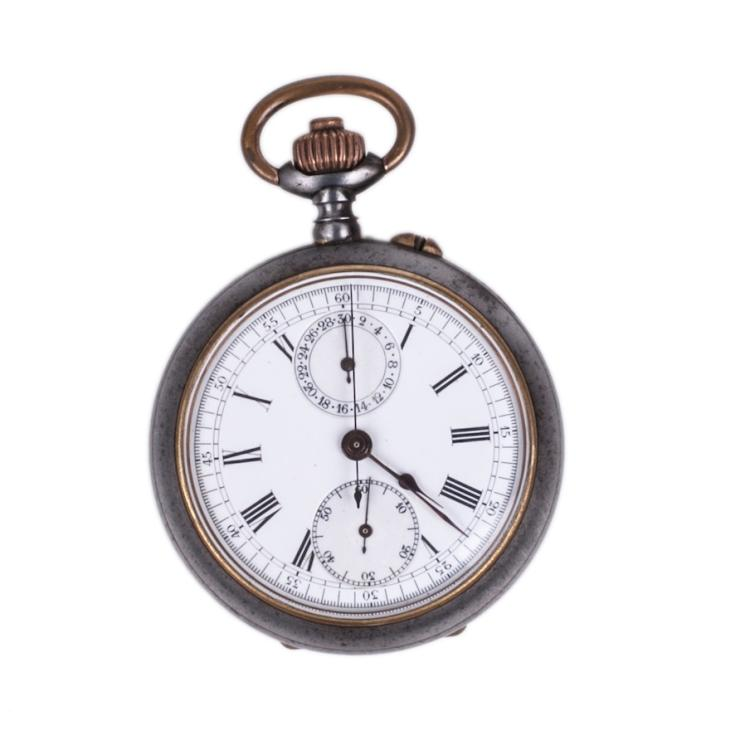 Metal chronograph pocket watch