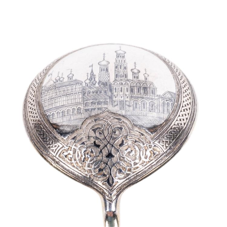 Russian silver jam spoon with depiction of Moscow