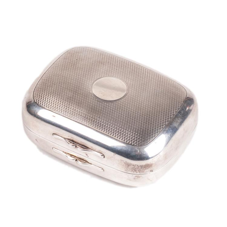 Silver cigarette case with engravings