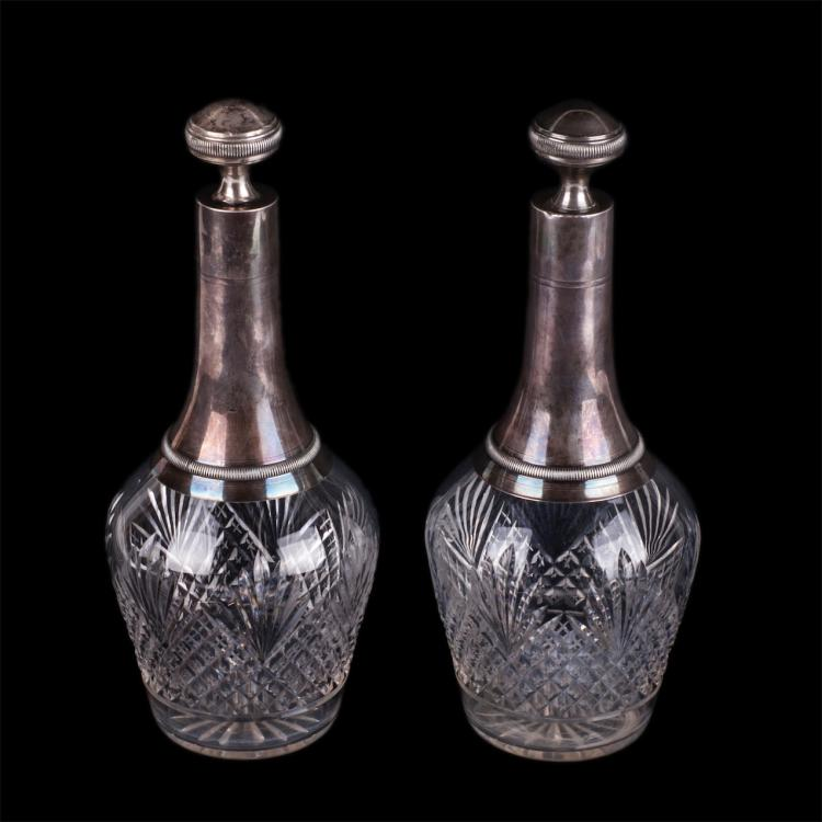 Antique set of 2 silver crystal decanters