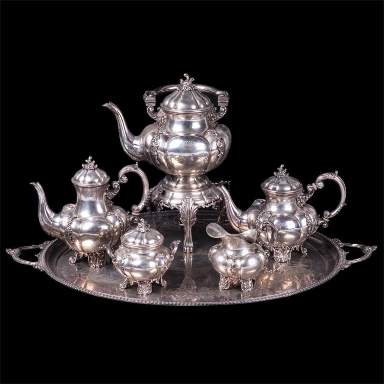 Antique silver serving set of 6 pieces