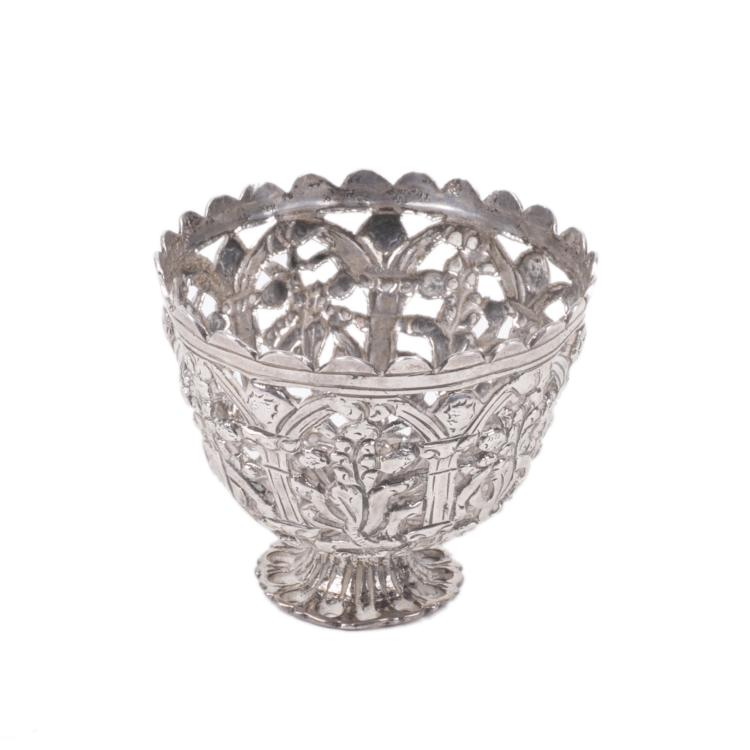 Antique filigree silver stand for egg