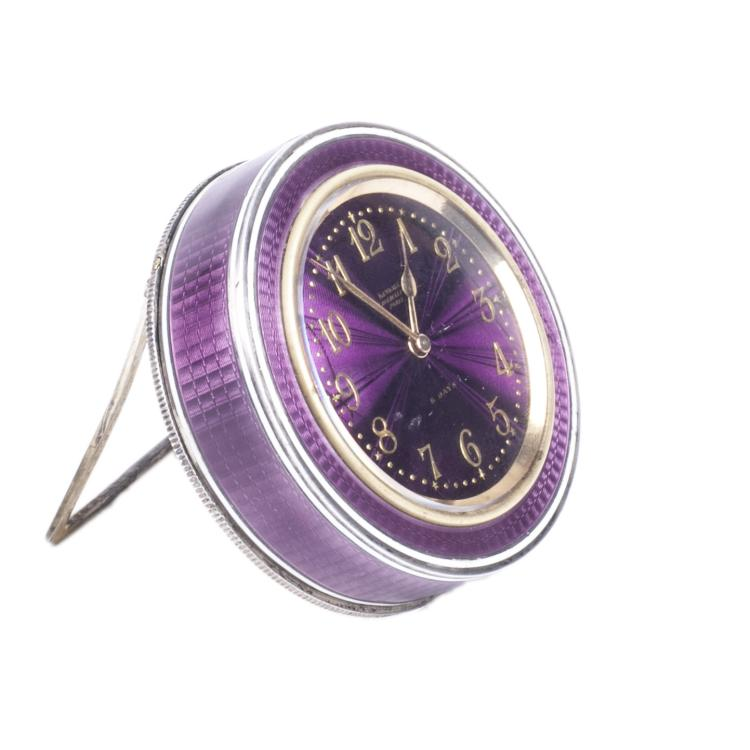 French silver and an enamel desk clock