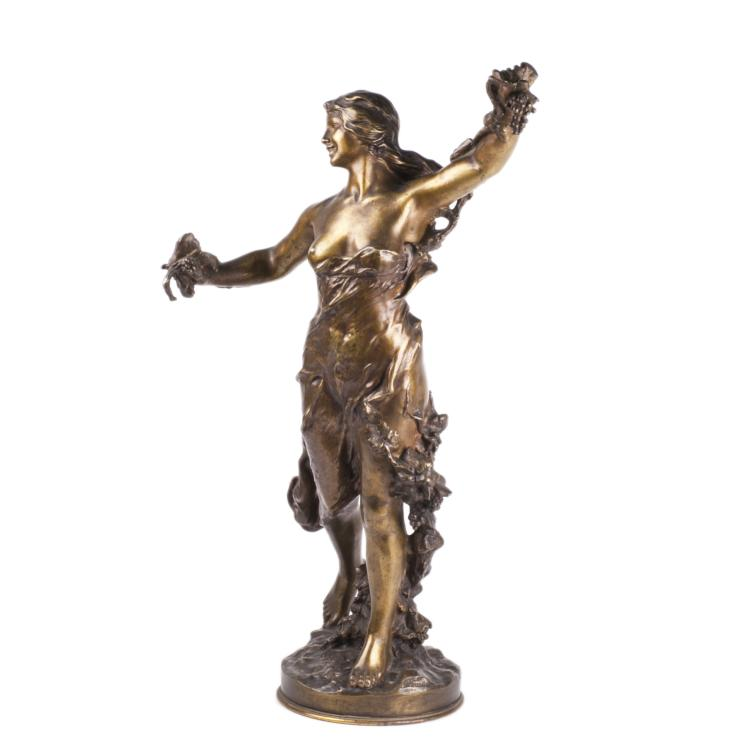 Huge antique bronze figure of woman