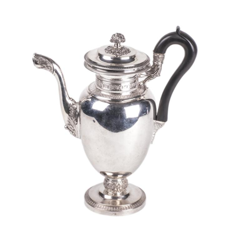 Antique silver coffee pot with wooden handles
