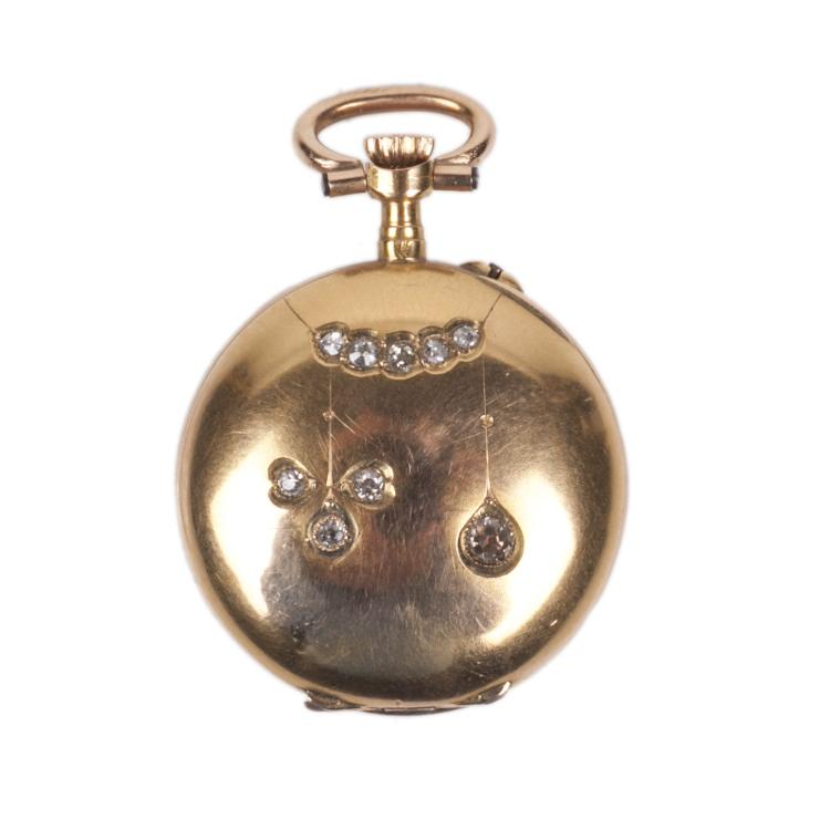 18K gold women's pocket watch with diamonds