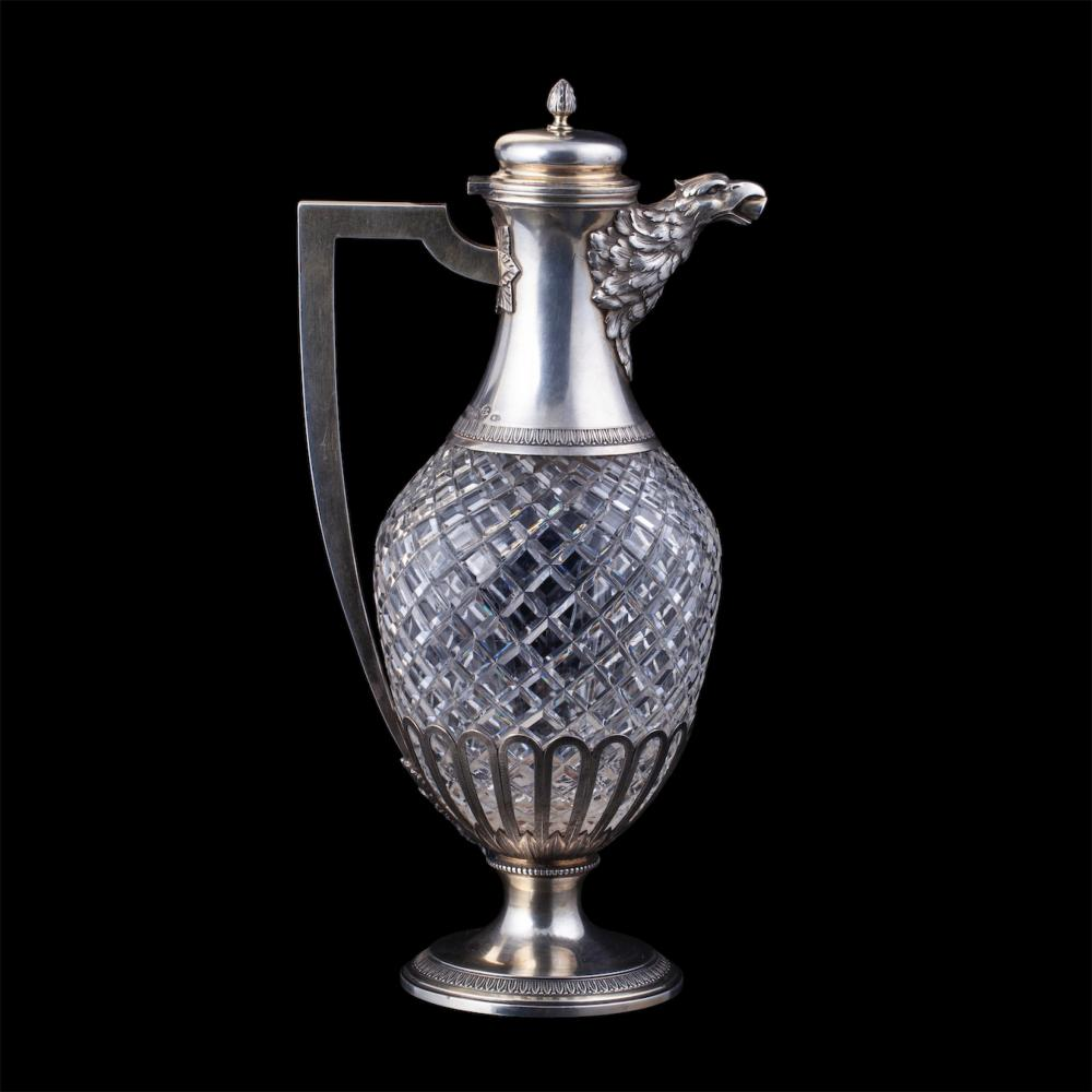 """Unusual """"empire"""" style silver-gilt and cut crystal carafe"""