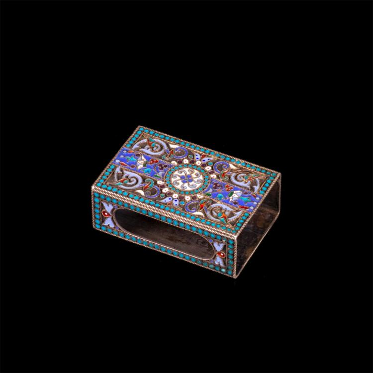 Russian silver and cloisonne enamel match-box