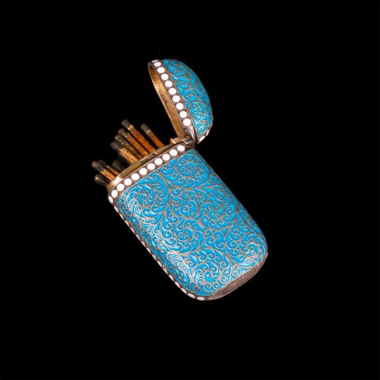 Russian silver and cloisonne enamel matchbox. G.Klingert