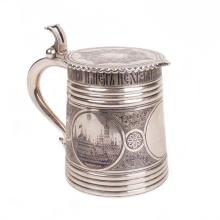 Russian silver-gilt tankard with Moscow Kremlin view