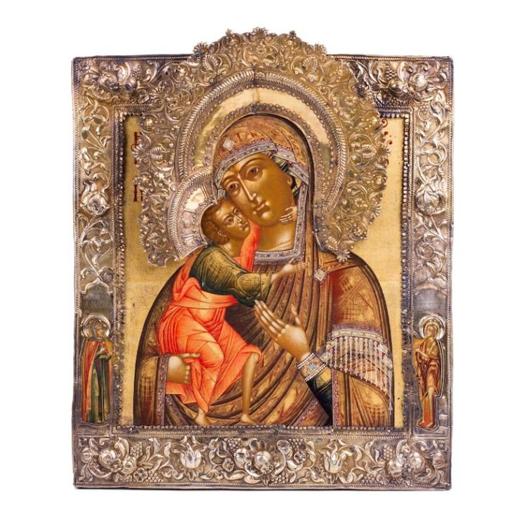 Russian 18th century Icon of Mother of God Feodorovskaya