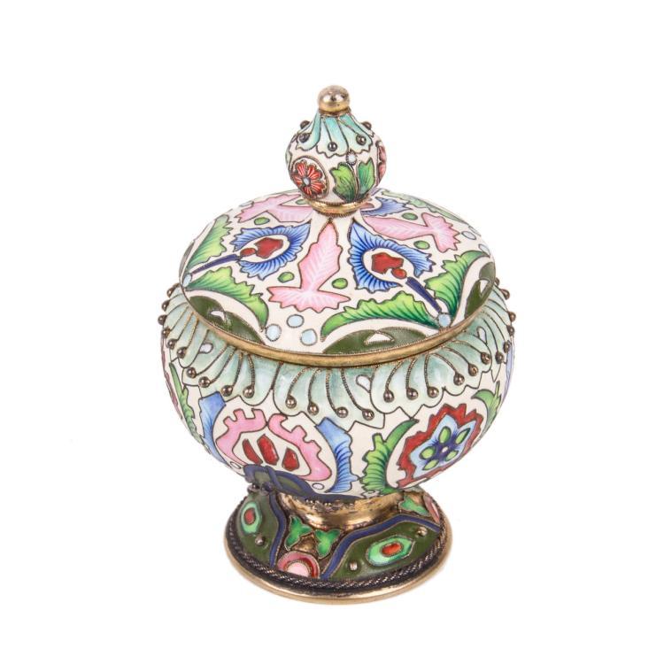 Russian presentation silver-gilt and cloisonne enamel vase