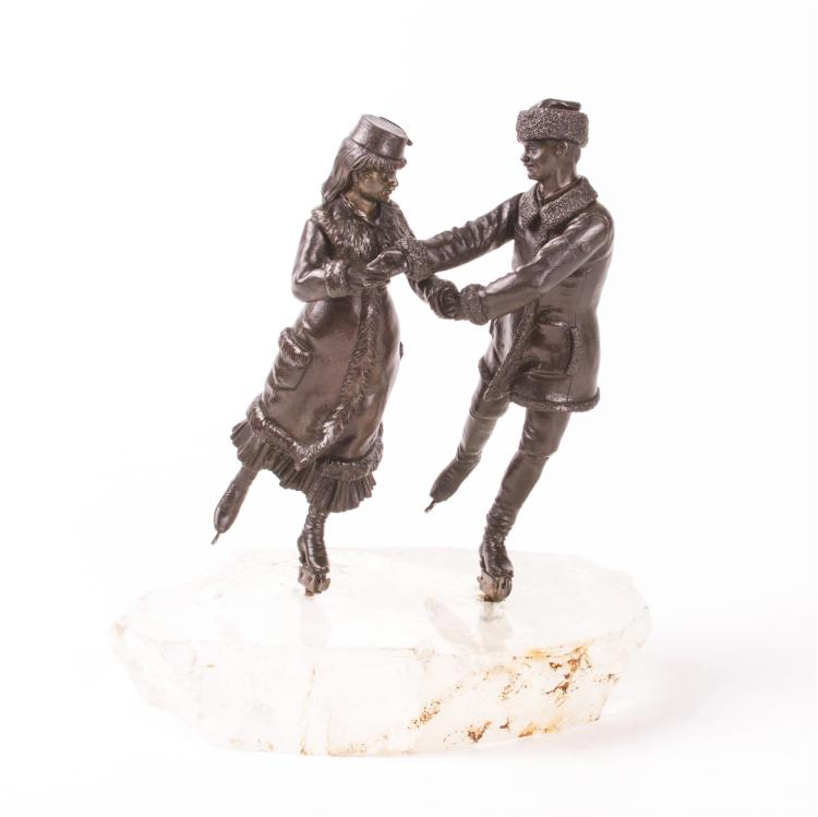 "Very rare Russian ""Ice Skating"" bronze sculpture, 1890"