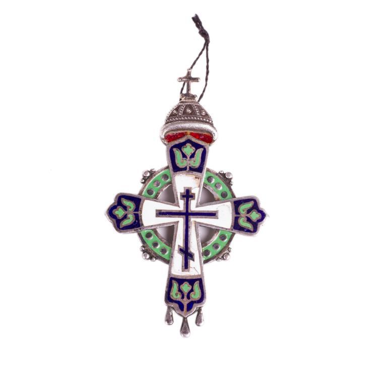 Russian silver and cloisonne enamel wearable cross