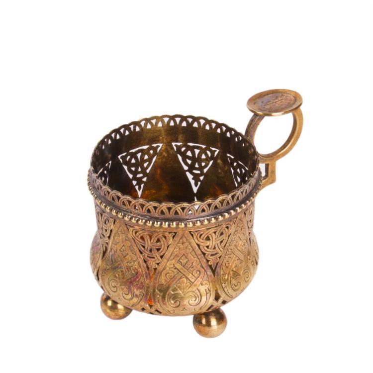 Russian a jour engraved silver-gilt tea glass holder