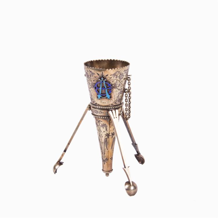 Russian engraved silver-gilt and enamel bouquet holder