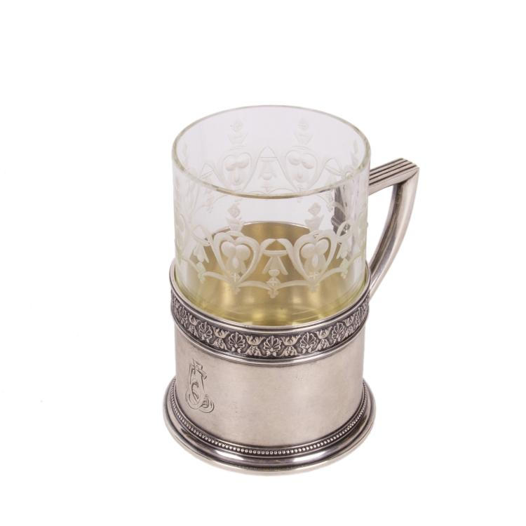 Faberge silver tea glass holder in neoclassical style