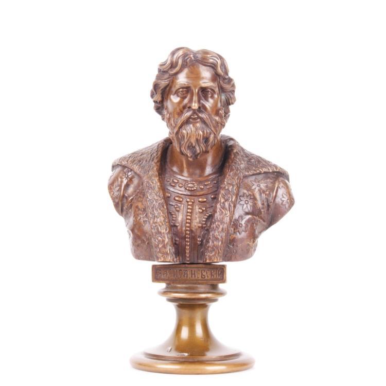 Russian bronze bust of Alexander Nevskiy, F. Chopin