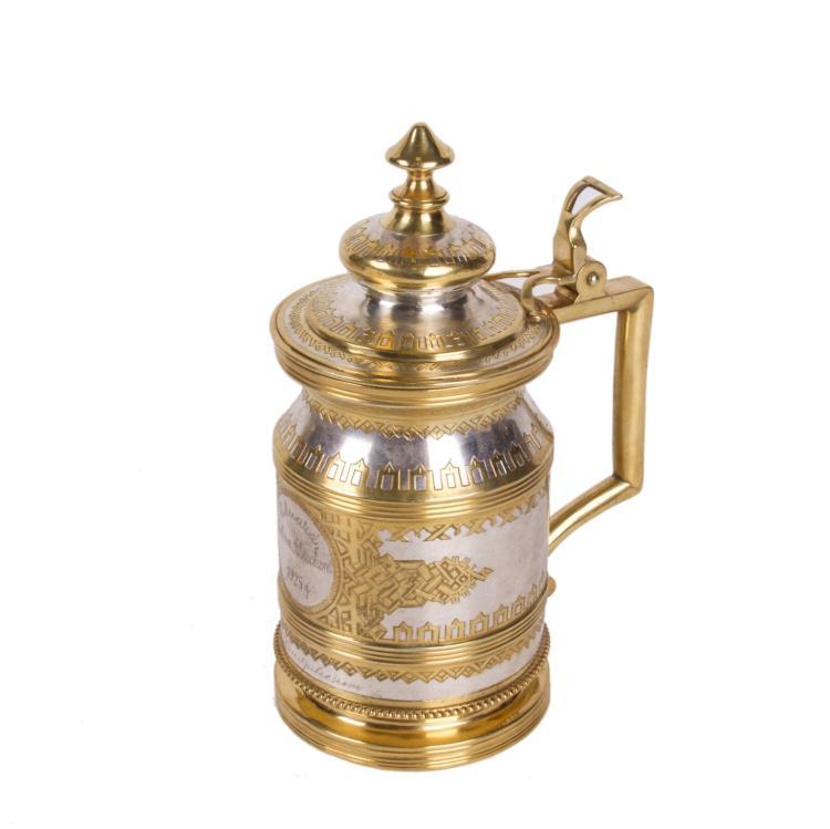 "Russian engraved silver ""a la russe"" tankard"