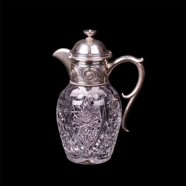 Russian neoclassical cut-glass and silver-gilt carafe