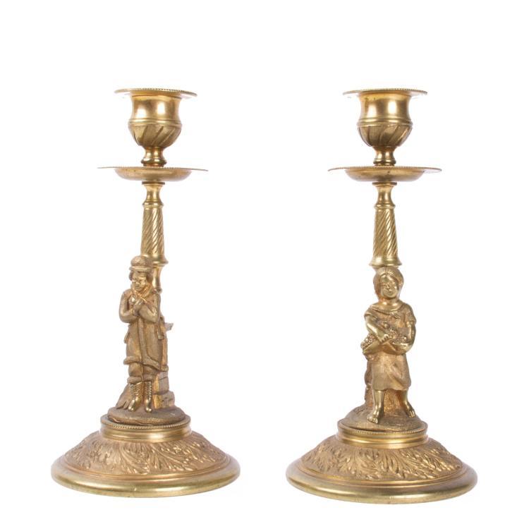 Pair of Russian bronze candlesticks