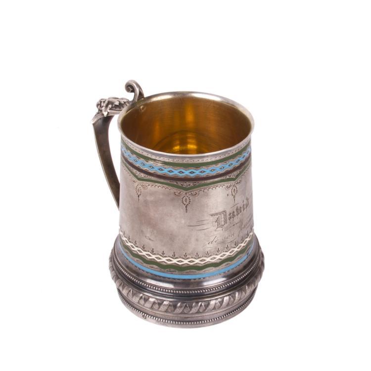 Russian silver and enamel tankard