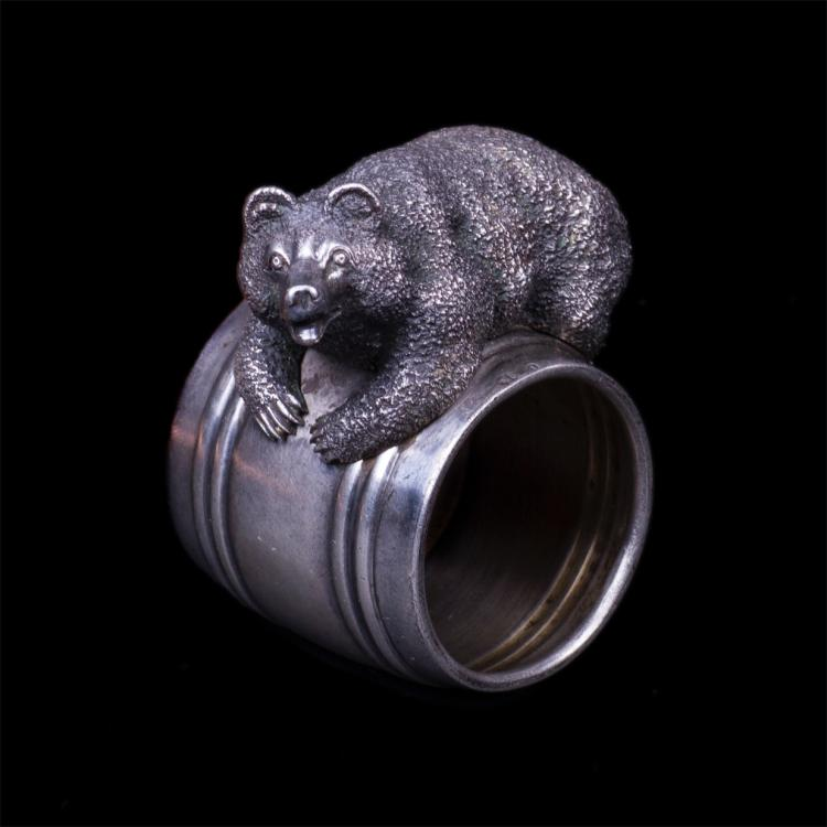 Russian silver napkin ring with cast bear figure