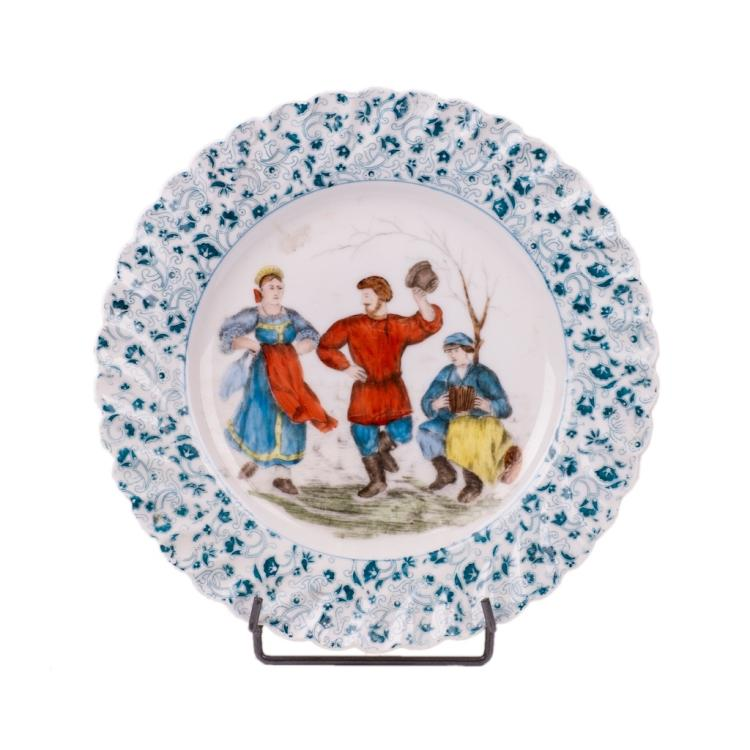 Russian porcelain plate with peasant dance scene