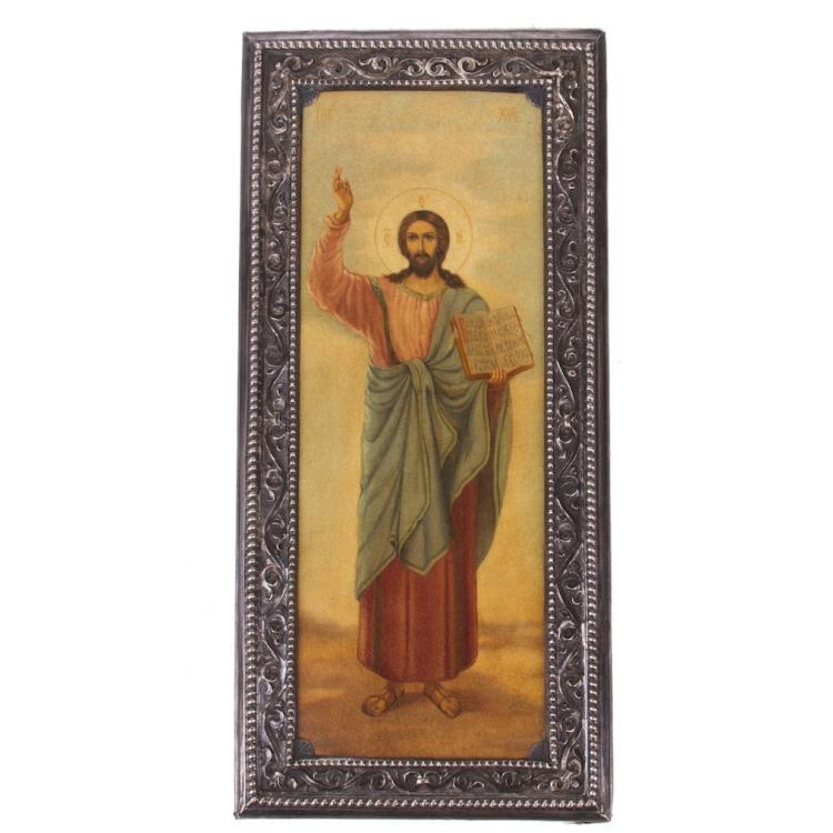 Rare Russian Icon of Christ in silver riza