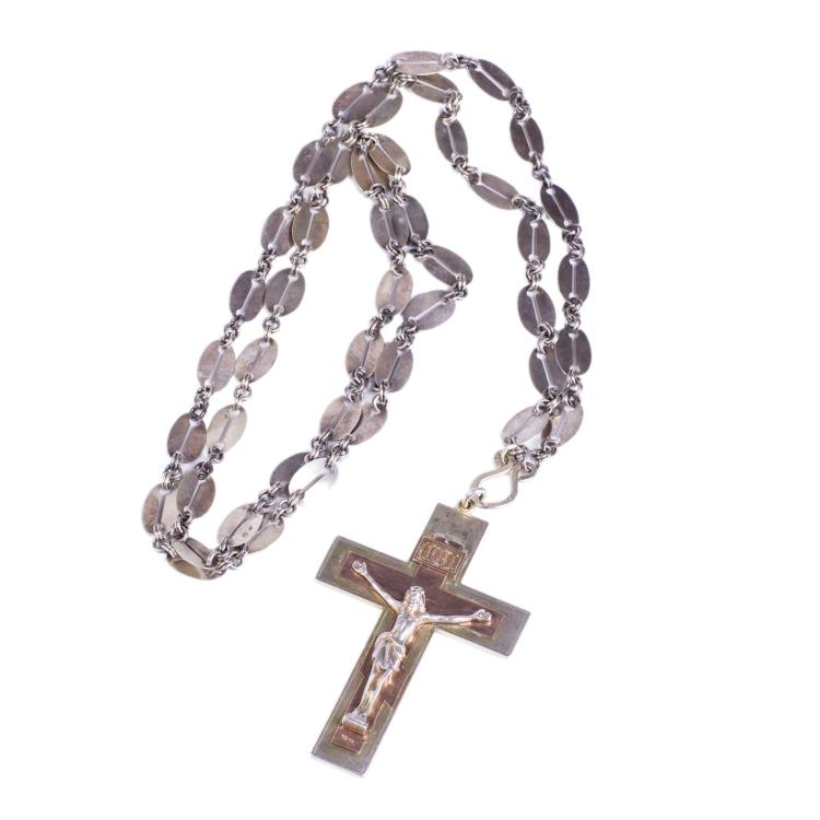 Engraved silver priest cross on a chain