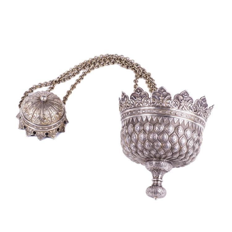 Massive Russian bysantine style silver-gilt lampada