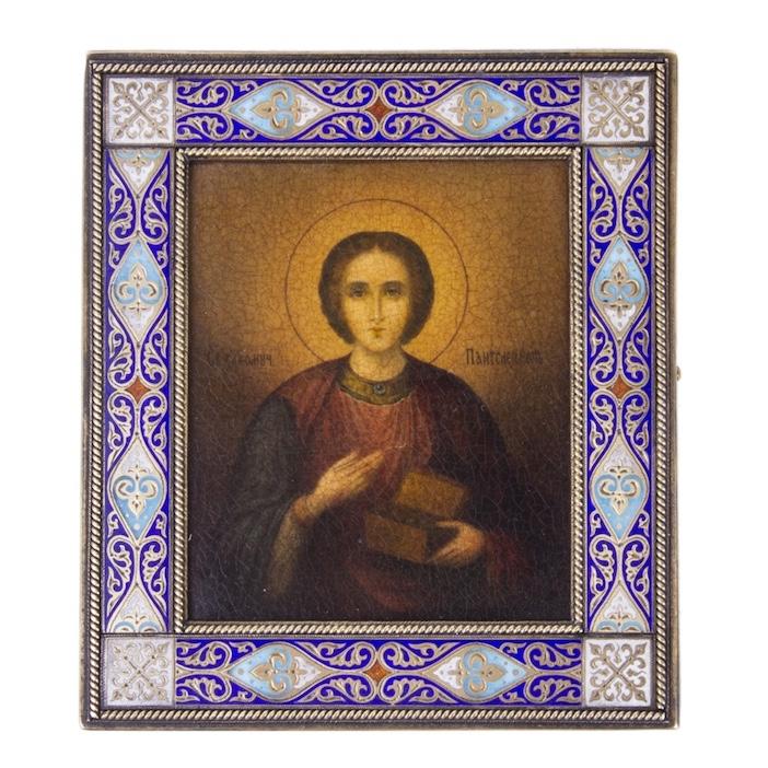 Russian Icon of St. Panteleimon in enameled silver riza