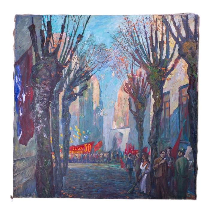 "Soviet oil on canvas painting ""Socialistic revolution"""