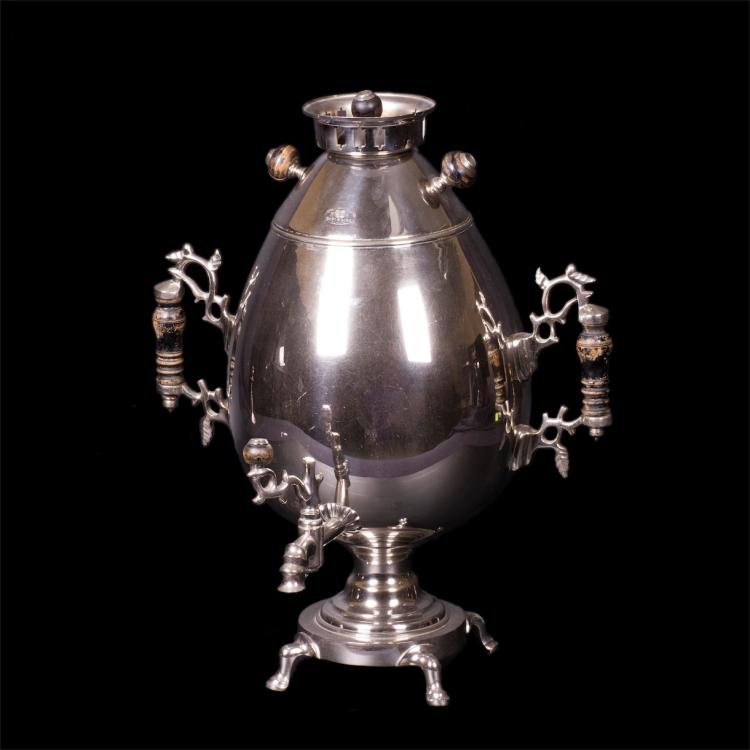 """Rare Russian silvered brass samovar in the shape of """"egg"""""""