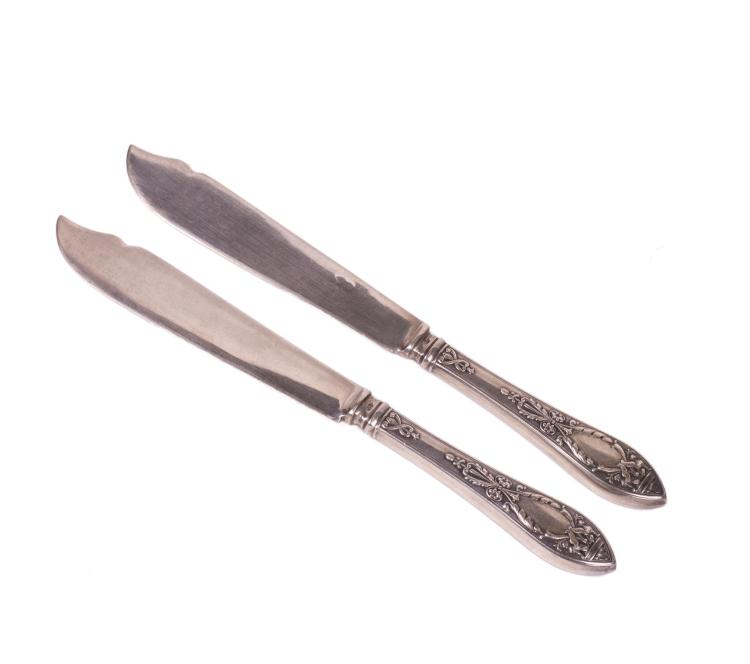Pair of Russian silver and engraving fish knives