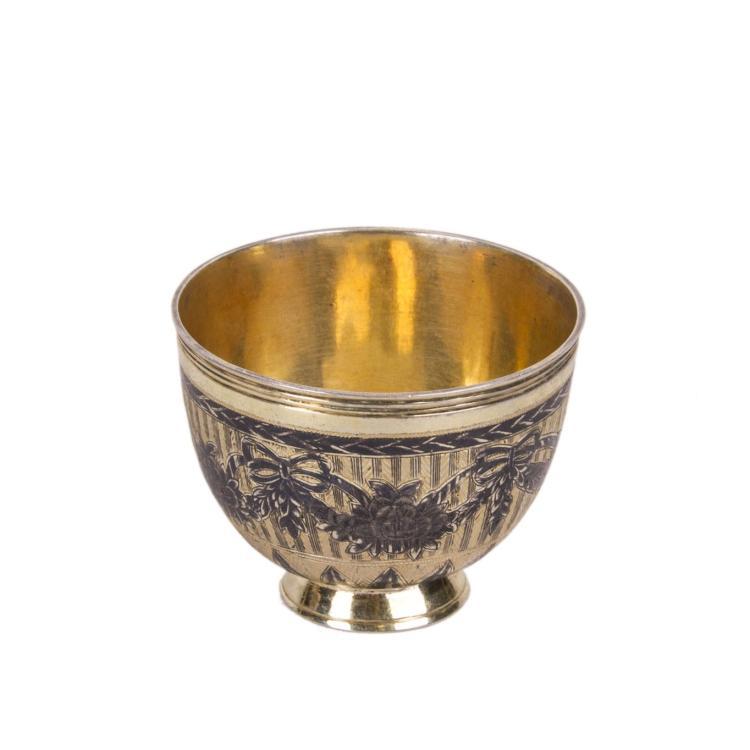 Russian engraved silver-gilt beaker