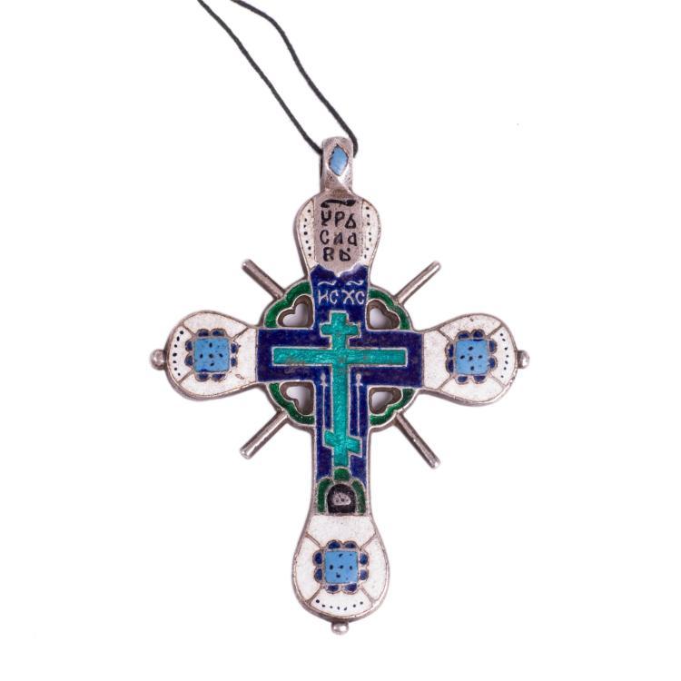 Russian 18th century enameled silver wearable cross