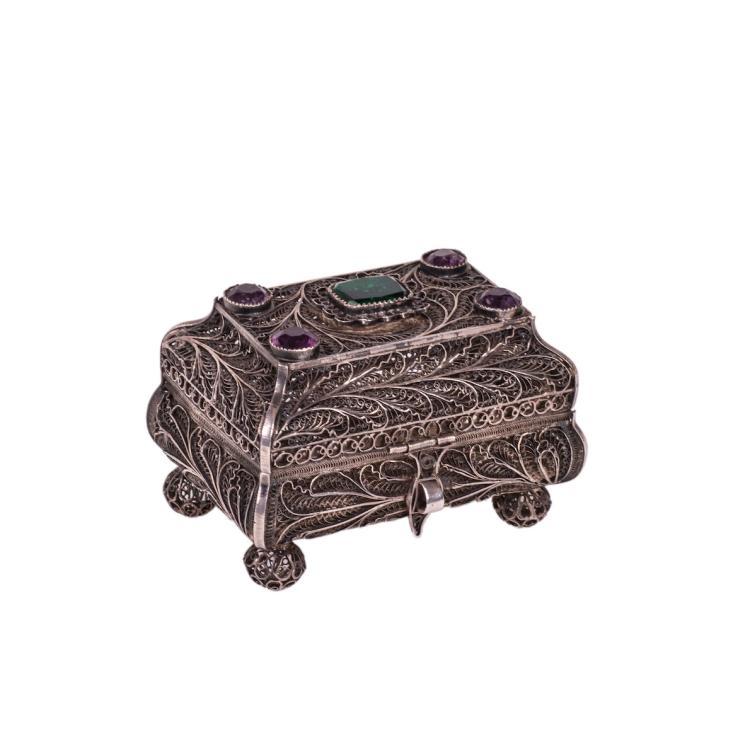 Russian gem-set silver filigree box